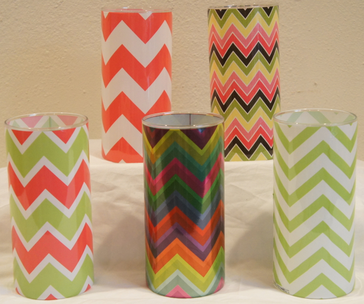 Chevron Shrink Wrap Decorative Vase Sleeve Collection