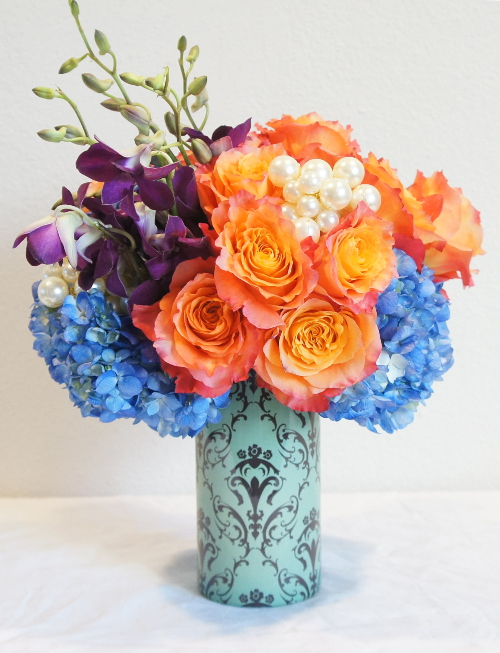 Baby Blue Damask Sleeve - Blue Hydrangea - Free Spirit Roses - Purple Dendrobiums Orchids - Oasis Mega Beaded WIre