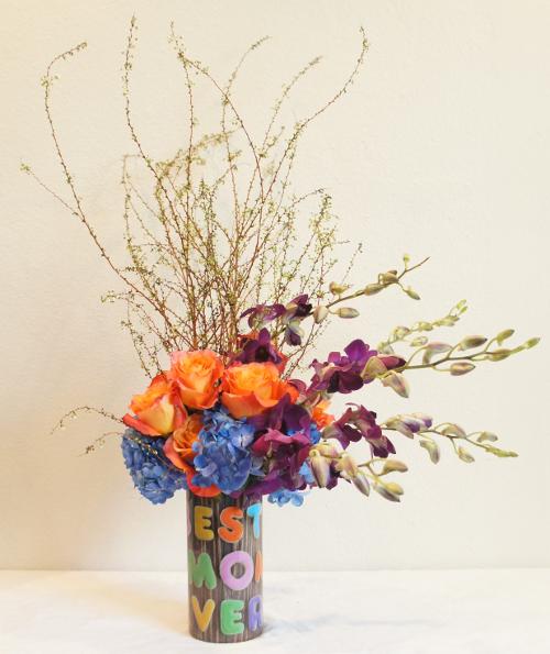 Best Mom Ever Sleeve - Blue Hydrangea - Free Spirit Roses - Purple Dendrobiums - Japanese Spirea