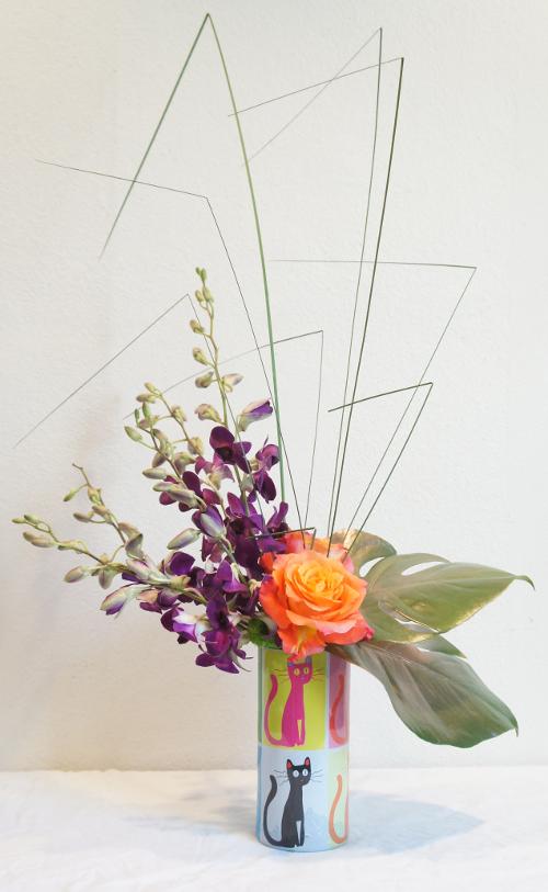 Pop Art Cats Sleeve - Free Spirit Roses - Purple Dendrobium Orchids - Steel Grass - Small Monstera