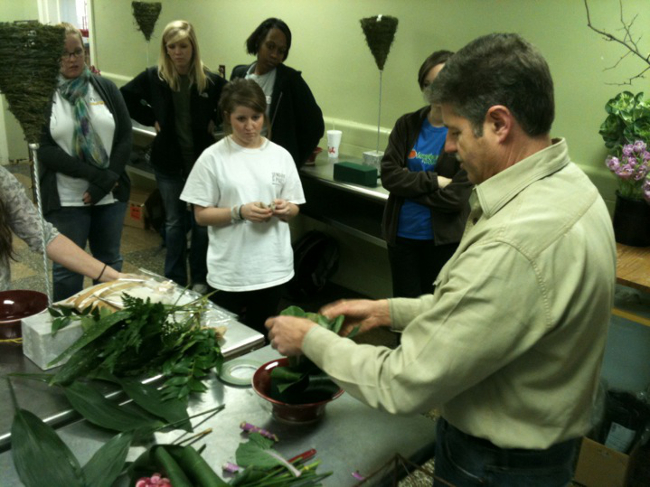 Kevin Coble, AIFD of Memphis, Tennessee shared floral design talent and insights with his Artist in Residence program.