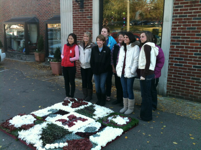 The Sympathy Floral Design class as one of many projects, made a floral blanket, similar to the historic AIDS Quilt, using Oasis Sculpting Sheets.  The design was displayed outdoors on the campus for one week and remained fresh in the cool weather.