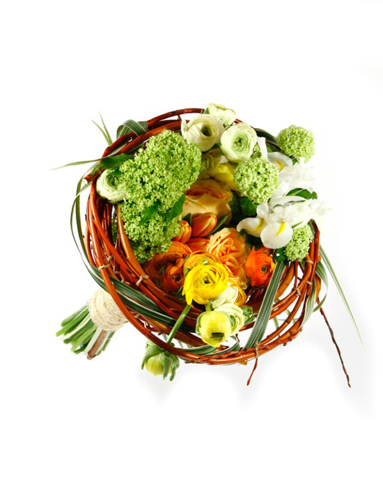 A nest like armature bouquet made for Canadian Florist Magazine in 2014