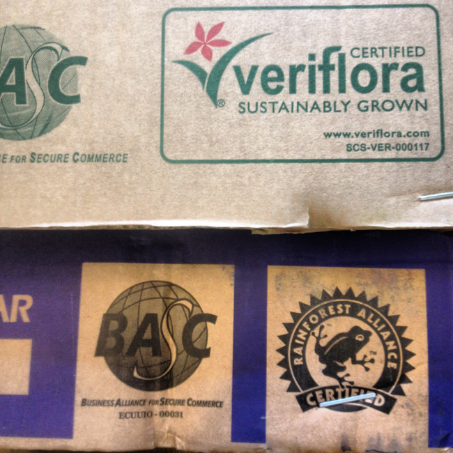 Veriflora and Rainforest Alliance fair-trade certifications.
